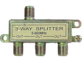 Rozbočovač IN / 3xOUT 5-900 MHz s F konektormi