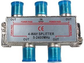 Rozbočovač IN / 4x OUT 5-2400 MHz CE s F konektormi