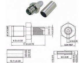SMA zdierka na koax 3mm (RG174,188,316 / U) lisovacie