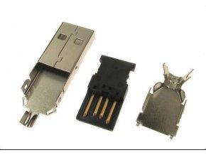 USB konektor TYP A na kábel, kovový kryt