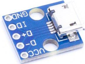 USB micro, zdierka na plošnom spoji