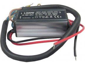 Zdroj- LED driver 20W, 20-40V / 600mA pre LED 20W, IP65, napájanie 230V