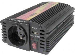 Měnič napětí 24V/230V+USB 300W, CARSPA CAR300U, modifikovaná sinusovka