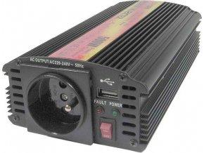 Měnič napětí 24V/230V+USB 500W, CARSPA CAR500U, modifikovaná sinusovka