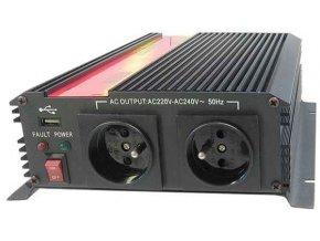 Měnič napětí 12V/230V+USB 1600W, CARSPA CAR1.6KU, modifikovaná sin.