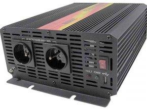 Menič napätia 12V / 230V + USB 2000W, CARSPA CAR2K, modifikovaná sínusoida