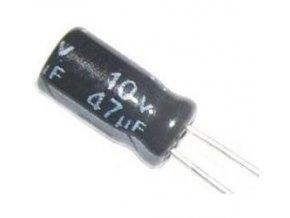 47u / 10V 105 ° 4x7x2mm, elektrolyt.kondenzátor radiálne