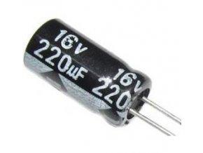 220u / 16V 105 ° 6x11x3,5mm, elektrolyt.kondenzátor radiálne
