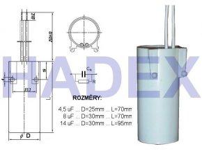 8uF / 250V ~ žiarivkový kondenzátor MKSP-025P