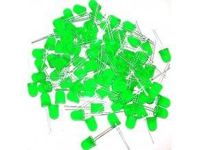 LED 10mm zelená difúzna, balenie 100ks