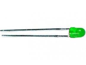 LED 3mm zelená rozptyl.50mCd / 20mA 565nm 50 °
