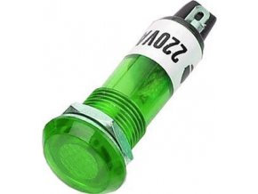 Kontrolka 230V s tlejivkou, zelená do otvoru 10mm