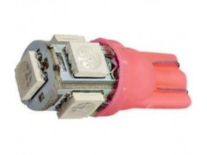 Žiarovka LED T10 12V / 1,5W červená, 5xSMD5050