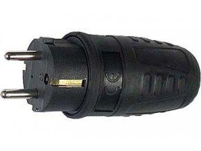 Vidlica 230V, priamy vývod, čierna gumová, krytie IP44