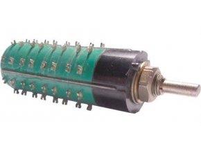 Prepínač otočný WK53303, 2-8poloh, 4pakety, hriadeľ 3x12mm
