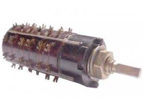Prepínač otočný WK53302, 2-8poloh, 3pakety, hriadeľ 3x12mm