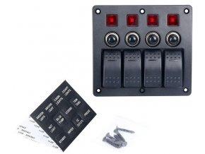 Panel PN-CB4 so 4 vypínačmi a ističmi