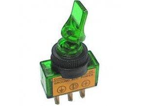 Vypínač páčkový ASW-14D, ON-OFF 1pol.12V/20A zelený, prosvětlení 12V