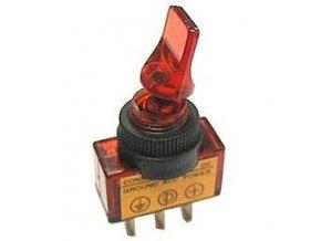 Vypínač páčkový ASW-14D, ON-OFF 1pol.12V/20A červený, prosvětlení 12V