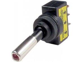 Vypínač páčkový ASW-15, ON-OFF 1pol.12V/20A červené prosvětlení 12V