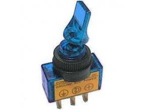 Vypínač páčkový ASW-14D, ON-OFF 1pol.12V/20A, modré prosvětlení 12V
