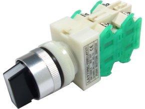 Prepínač otočný LAY7 (Y090-40XB / 31), ON-OFF-ON 2.pólový 250V / 6A