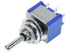 Prepínač páčkový MTS-223, (ON) -OFF- (ON) 2pol.250V / 3A mini