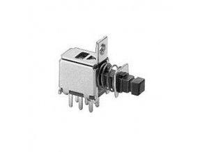 Prepínač tlačidlový ON-ON PS-22F28, 2pólový, 50V / 0,3A