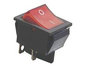 Vypínač kolískový KCD2-201 / N, ON-OFF 2pol.250V / 15A červený