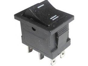 Prepínač kolískový MRS-202-3, ON-ON 2pol.250V / 3A I-II čierny