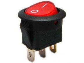 Vypínač kolískový MIRS101-8, ON-OFF 1p.250V / 6A červený, presvetlený