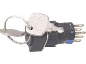 Prepínač s kľúčom A16-22ZK2 ON-ON 2pól. 250V / 3A