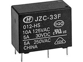 Relé JZC-33F1C 12V, kontakty 250VAC / 5A (30VDC / 10A)