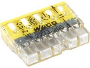 Svorka Wago 2273-205, 0,5 - 2,5 mm2, 5pólová, transparentní/bílá