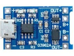 Nabíjačka Li-Ion článku 1A s ochranou, modul s IO TP4056 (micro USB)