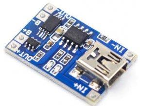 Nabíjačka Li-Ion článku 1A s ochranou, modul s IO TP4056 (mini USB)