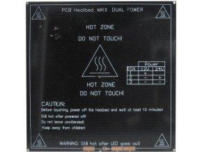 Vykurovacia podložka MK3 214x214x3,5mm 12-24V 120W / 3D tlač /