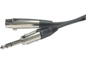 Kabel XLR 3P zdířka - Jack 6,3 stereo, 10m, OFC kabel 6mm