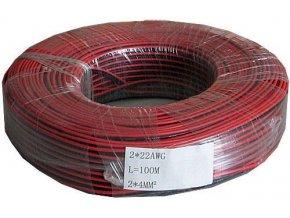 Dvojlinka 2x0,35mm2 CU, 22AWG červeno-čierna, balenie 100m / CYH 2x0,35mm