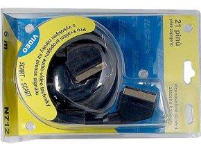 Kábel Scart-Scart 6m HiFi plast 2x tienenie