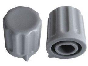 Prístrojový gombík KP1406, 14x15mm, hriadeľ 6mm, šedý s šípkou