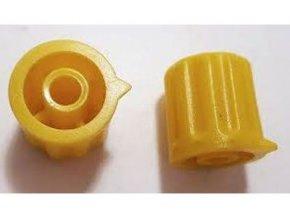 Prístrojový gombík KP1404, 14x15mm, hriadeľ 4mm, žltý