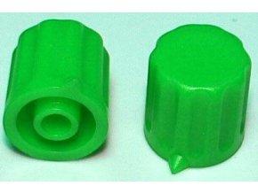 Prístrojový gombík KP1404, 14x15mm, hriadeľ 4mm, zelený
