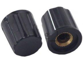 Prístrojový gombík K16-2 19x16mm, hriadeľ 6mm, čierny