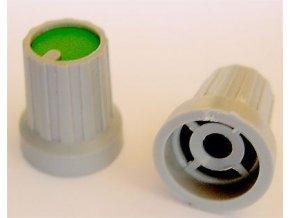 Prístrojový gombík KP15, 15x18mm, hriadeľ 4mm, zelený