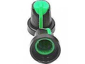 Prístrojový gombík 15x17mm, hriadeľ 6mm čierno-zelený