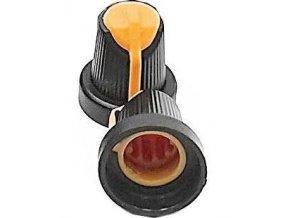 Prístrojový gombík 15x17mm, hriadeľ 6mm čierno-oranžový