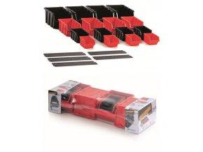 Sada boxů SETTRUCK s lištou na zeď 580x230x130,16 boxů 4 velikostí