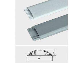 Prechodová lišta pre káble šedá, š = 20mm, v = 6mm