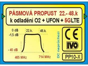 Pásmová priepust UHF (22-48k), PP10-X k odladenie 5GLTE